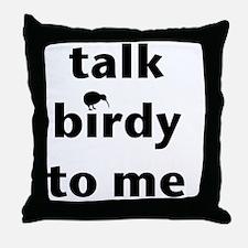 Talk birdy black Throw Pillow