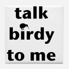 Talk birdy black Tile Coaster
