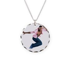 dance10_wht Necklace Circle Charm