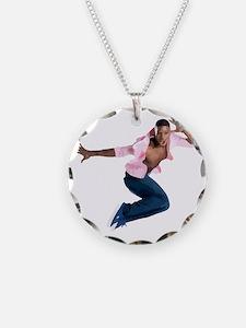 dance10_wht Necklace Circle Charm