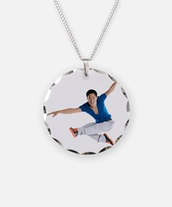 dance5_wht Necklace Circle Charm