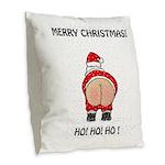 Merry Christmas! Burlap Throw Pillow