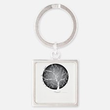 Brain-Cancer-Tree-blk Square Keychain