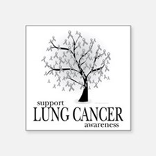 """Lung-Cancer-Tree Square Sticker 3"""" x 3"""""""