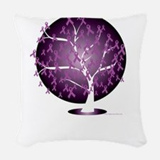 Cystic-Fibrosis-Tree-blk Woven Throw Pillow