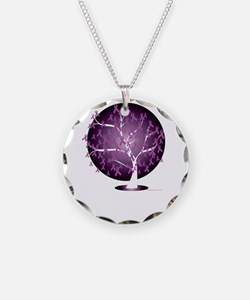 Cystic-Fibrosis-Tree-blk Necklace Circle Charm