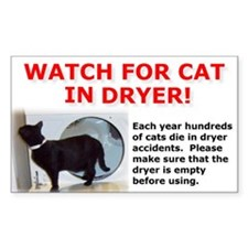 Cat in Dryer Rectangle Bumper Stickers