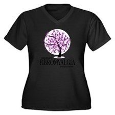 Fibromyalgia Women's Plus Size Dark V-Neck T-Shirt