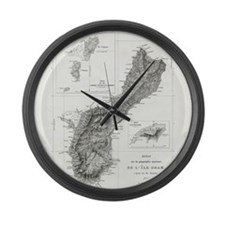 De L'Ile Gwam (Guam) Freycinet Large Wall Clock