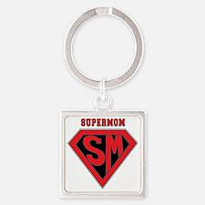 Supermom-redblack Square Keychain