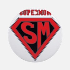 Supermom-redblack Round Ornament