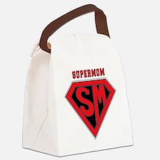 Supermom-redblack Canvas Lunch Bag