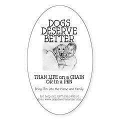 Man Hugs Dog-BW Oval Decal