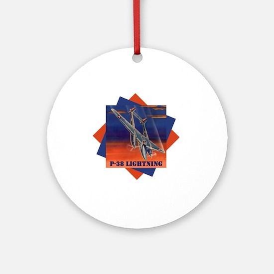 p38_diving-rev Round Ornament