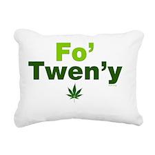 fo-tweny-green-on-white Rectangular Canvas Pillow
