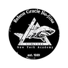 """gracie est 1999 distressed black 3.5"""" Button"""