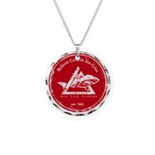 gracie logo distressed red Necklace