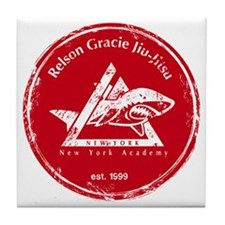 gracie logo distressed red Tile Coaster
