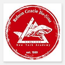 "gracie logo distressed r Square Car Magnet 3"" x 3"""