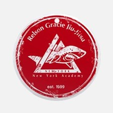 gracie logo distressed red Round Ornament