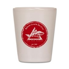 gracie logo distressed red Shot Glass