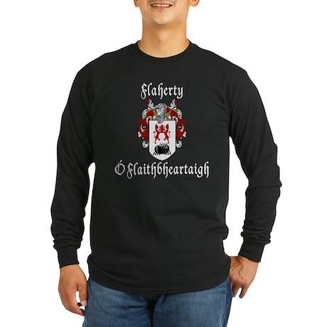 Flaherty In Irish & English Long Sleeve Dark T-Shi
