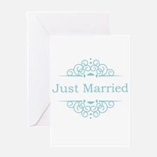 Just married in blue Greeting Cards