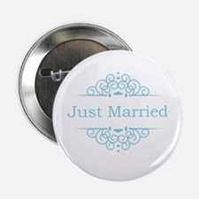 "Just married in blue 2.25"" Button"