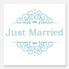 """Just married in blue Square Car Magnet 3"""" x 3"""""""