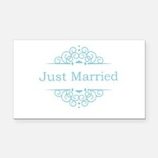 Just married in blue Rectangle Car Magnet