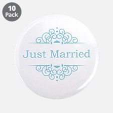 "Just married in blue 3.5"" Button (10 pack)"