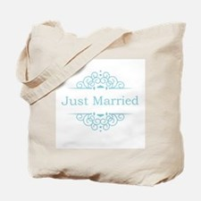 Just married in blue Tote Bag