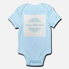 Just married in blue Body Suit