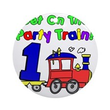 Party Train One Year Old Round Ornament