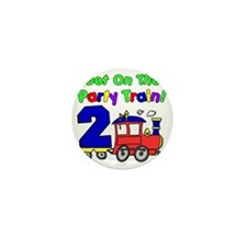 Get On The Party Train 2 Year Old Mini Button