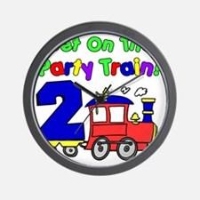 Get On The Party Train 2 Year Old Wall Clock