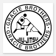 "gracie bros bw Square Car Magnet 3"" x 3"""