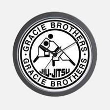 gracie bros bw Wall Clock
