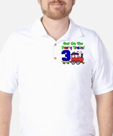Get On Board The Party Train 3 Year Old T-Shirt