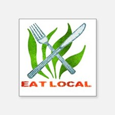 "eatLocalUtensils Square Sticker 3"" x 3"""