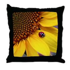 Ladybug on Sunflower1 Throw Pillow