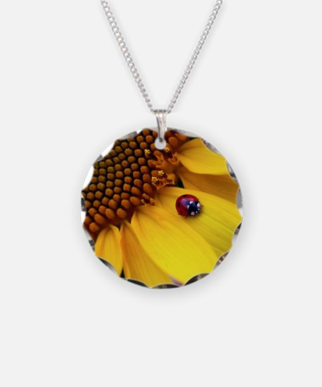 Ladybug on Sunflower1 Necklace