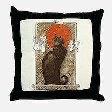 steilen_chatNoirRed Throw Pillow
