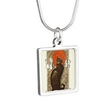 steilen_chatNoirRed Silver Square Necklace