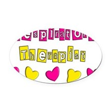 RESPIRATORY HEARTS YELLOW PINK Oval Car Magnet