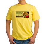 Man Hugs Dog-Color Yellow T-Shirt