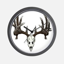 whitetail buck skull d Wall Clock