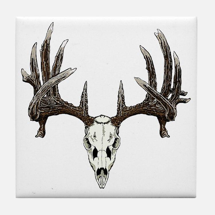 whitetail buck skull d Tile Coaster