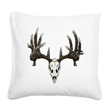 whitetail buck skull d Square Canvas Pillow