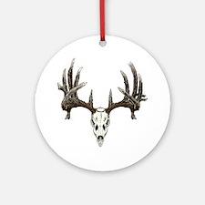 whitetail buck skull d Round Ornament